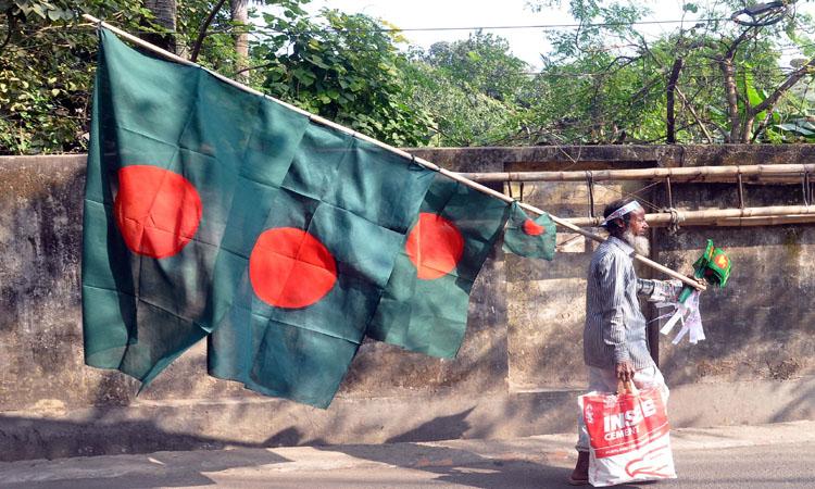 বিজয় দিবস সমাগত। তাই ফেরিওয়ালারা পাড়া মহল্লায় ঘুরে ঘুরে জাতীয় পতাকা বিক্রি করছেন